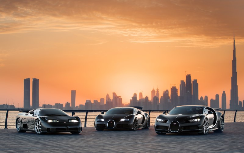Three Bugatti Superstars Caught in One Photoshoot in Dubai