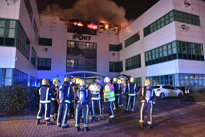 100 Firefighters Battle Fire at UK Headquarters of Goodyear Dunlop