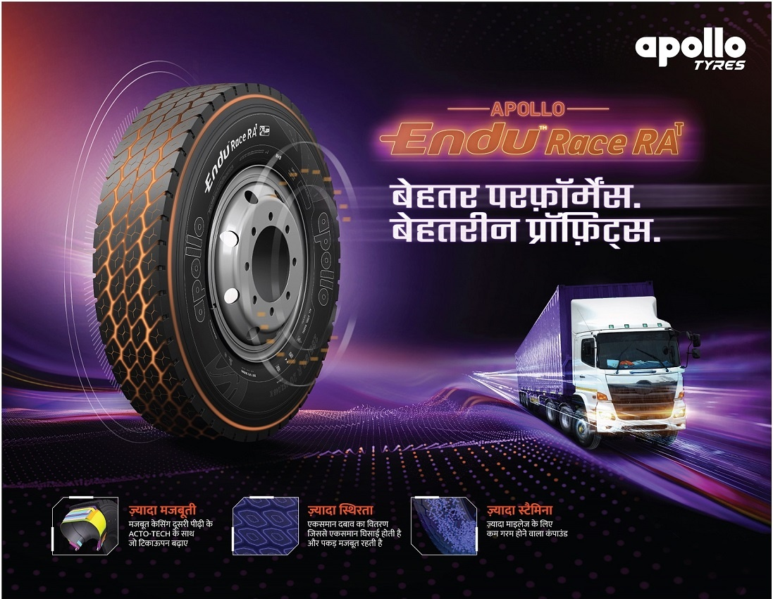 Apollo Tyres launches EnduRace RA , an all-wheel fitment truck-bus radial tyre