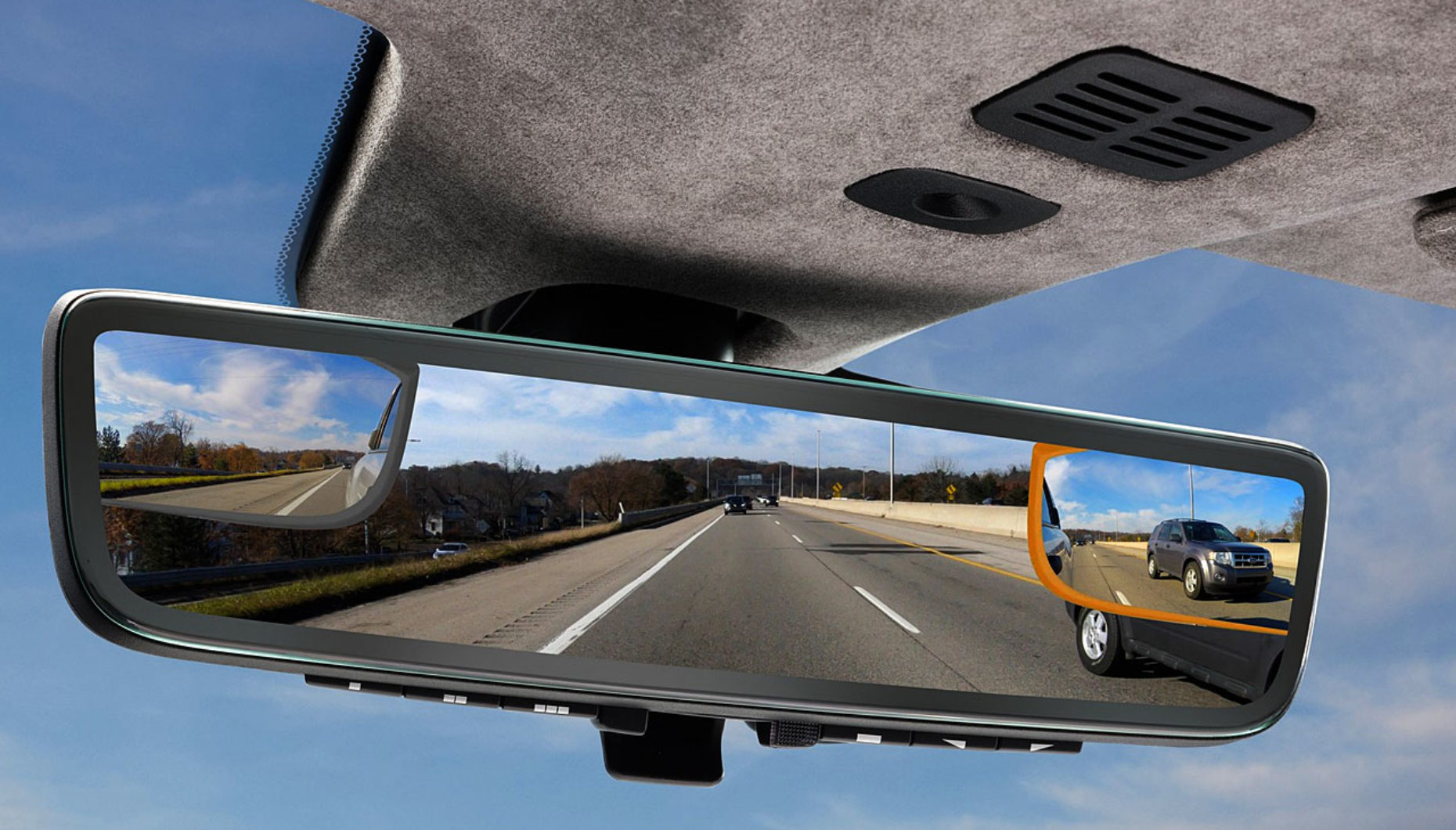 Aston Martin and Gentex Showcase Tri-camera Rearview Mirror system at CES