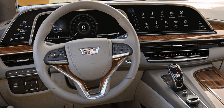 The 2021 Escalade industry-first curved OLED display puts drivers at the heart of the legendary SUV