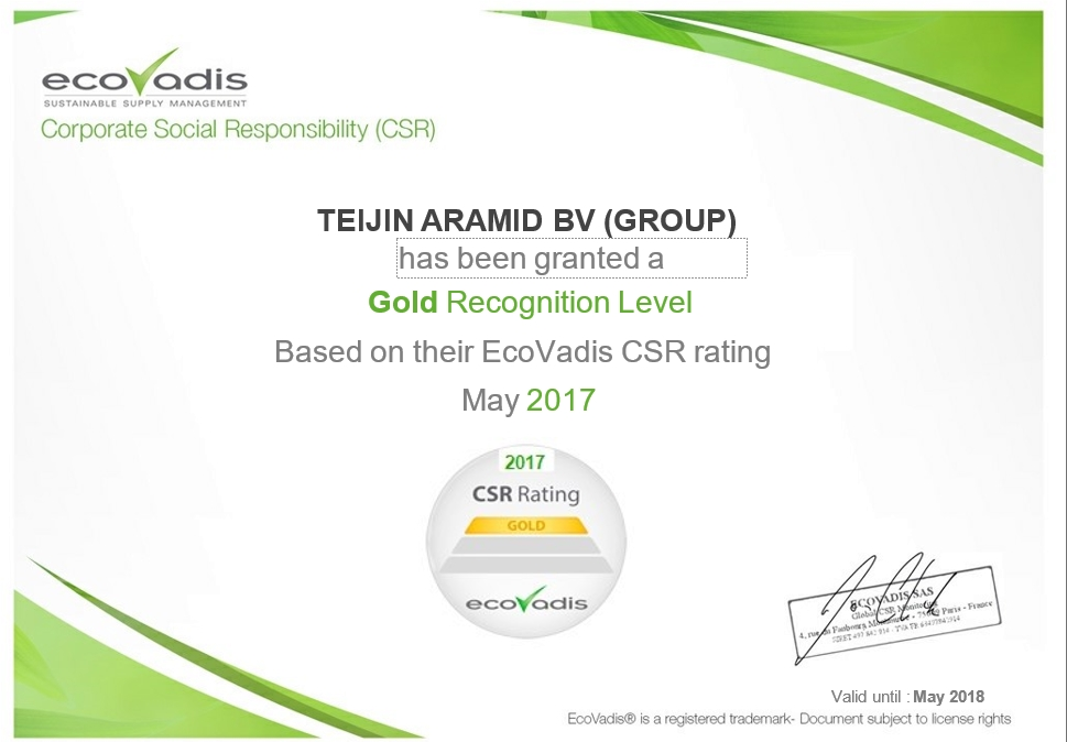 Teijin Aramid Receives Gold Partner Certificate from EcoVadis