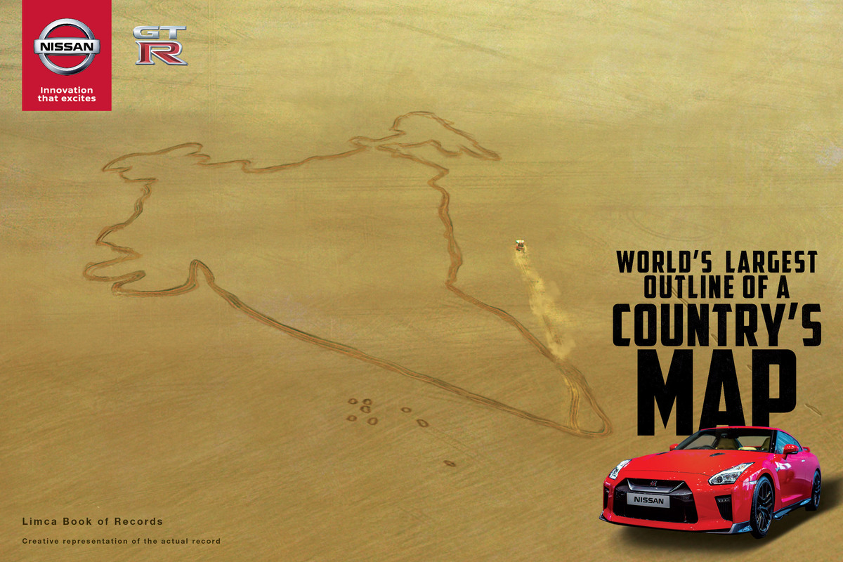 Nissan GT-R Makes Largest Country Map in the world for Indian Republic Day