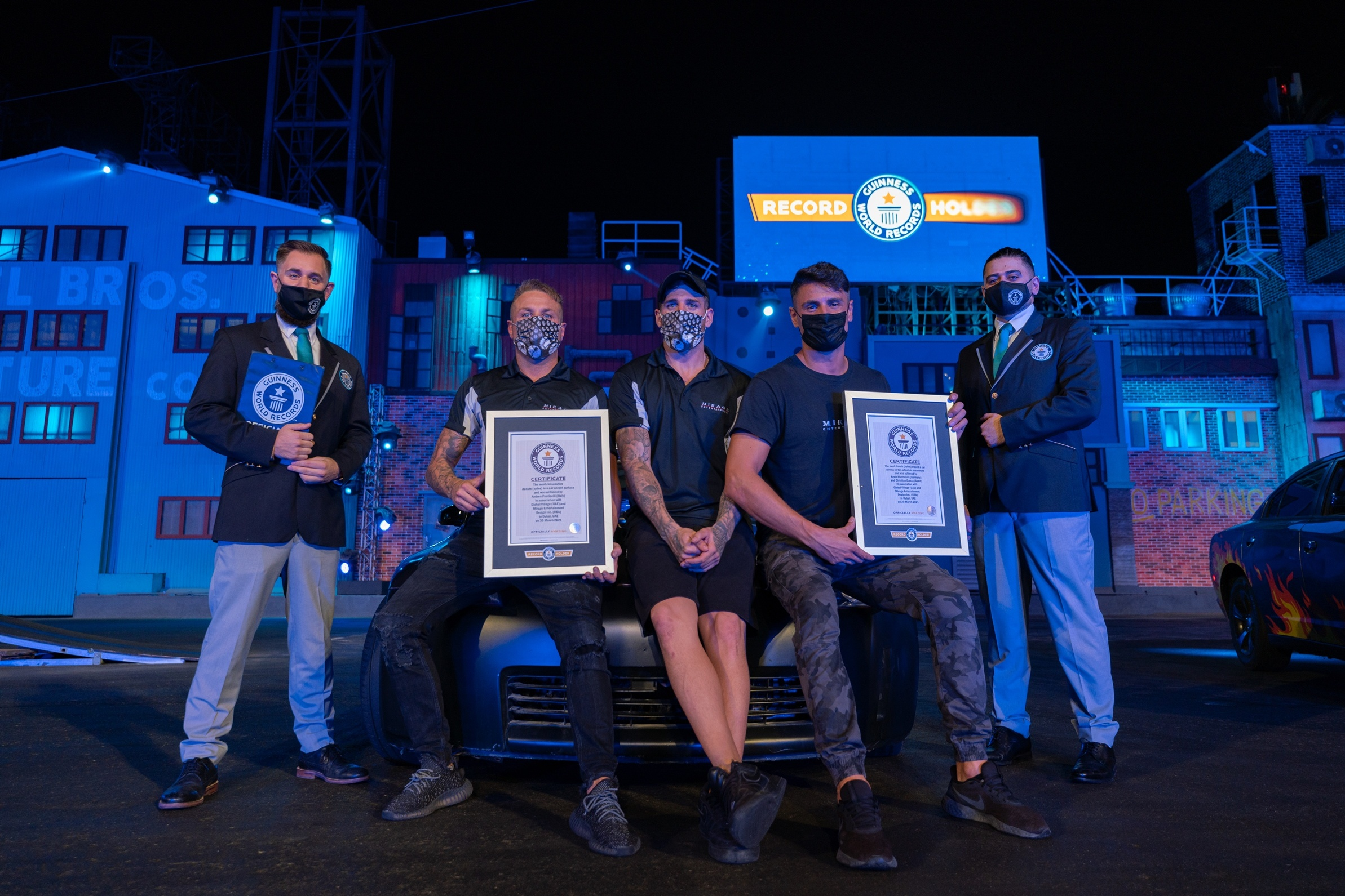 Global Village stunt team thrills guests and claims two new Guinness World Records™ titles