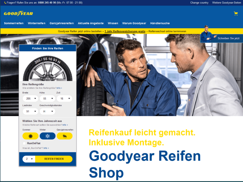 Goodyear Takes Online Tire Sales to Europe