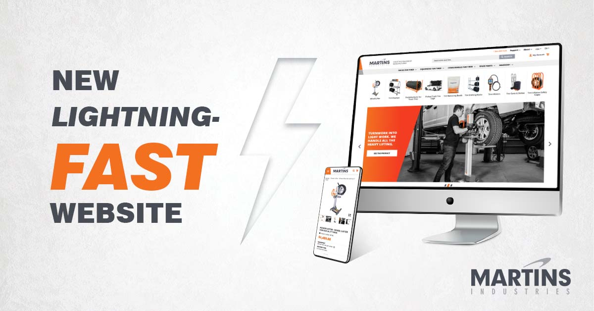 """Martins Industries Launches a New, """"Lightning-Fast"""" Website to Shop Online for Tire Equipment"""