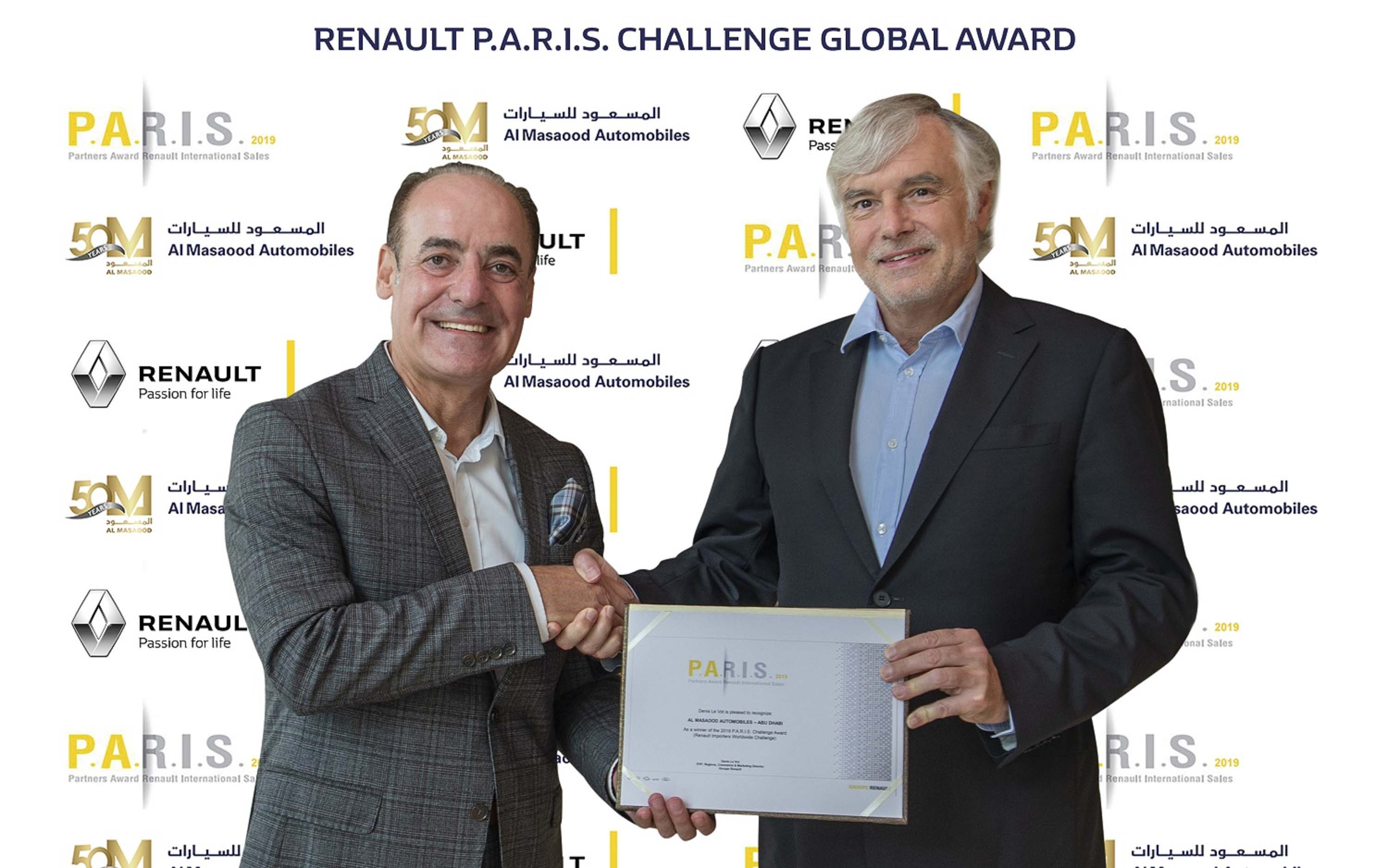 """Al Masaood Automobiles wins the prestigious """"Renault Global Partners Award, P.A.R.I.S. Challenge"""" for the fiscal year 2019"""