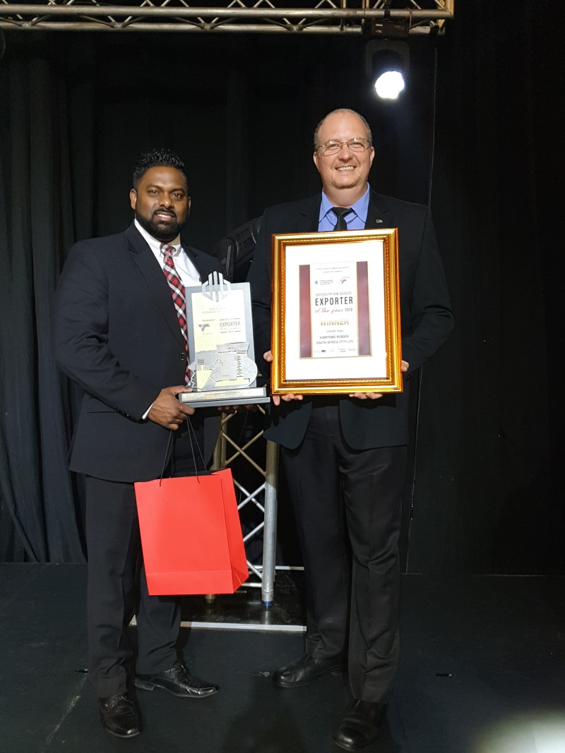 Sumitomo Rubber South Africa Bags KZN Exporter of the Year Award