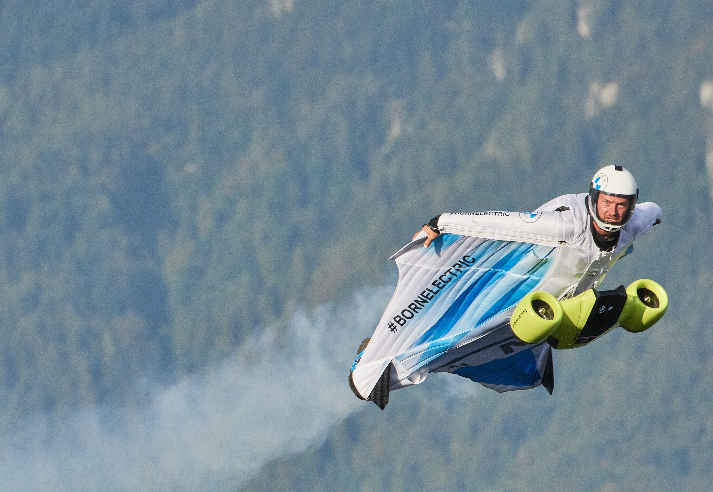 The first electrified wingsuit flight, powered by BMW i