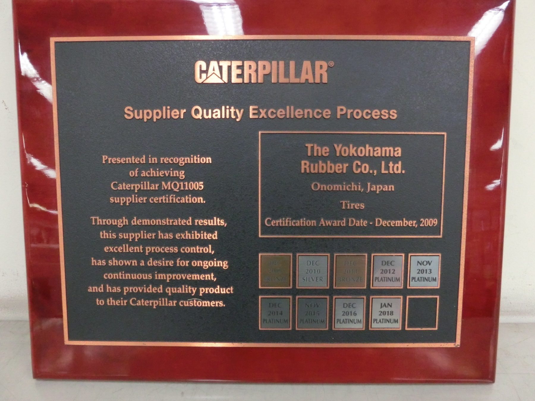 Yokohama Wins Platinum Supplier Award from Caterpillar