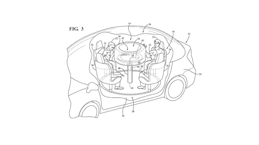 Ford Patents Retractable Table With Airbags For Automated Cars
