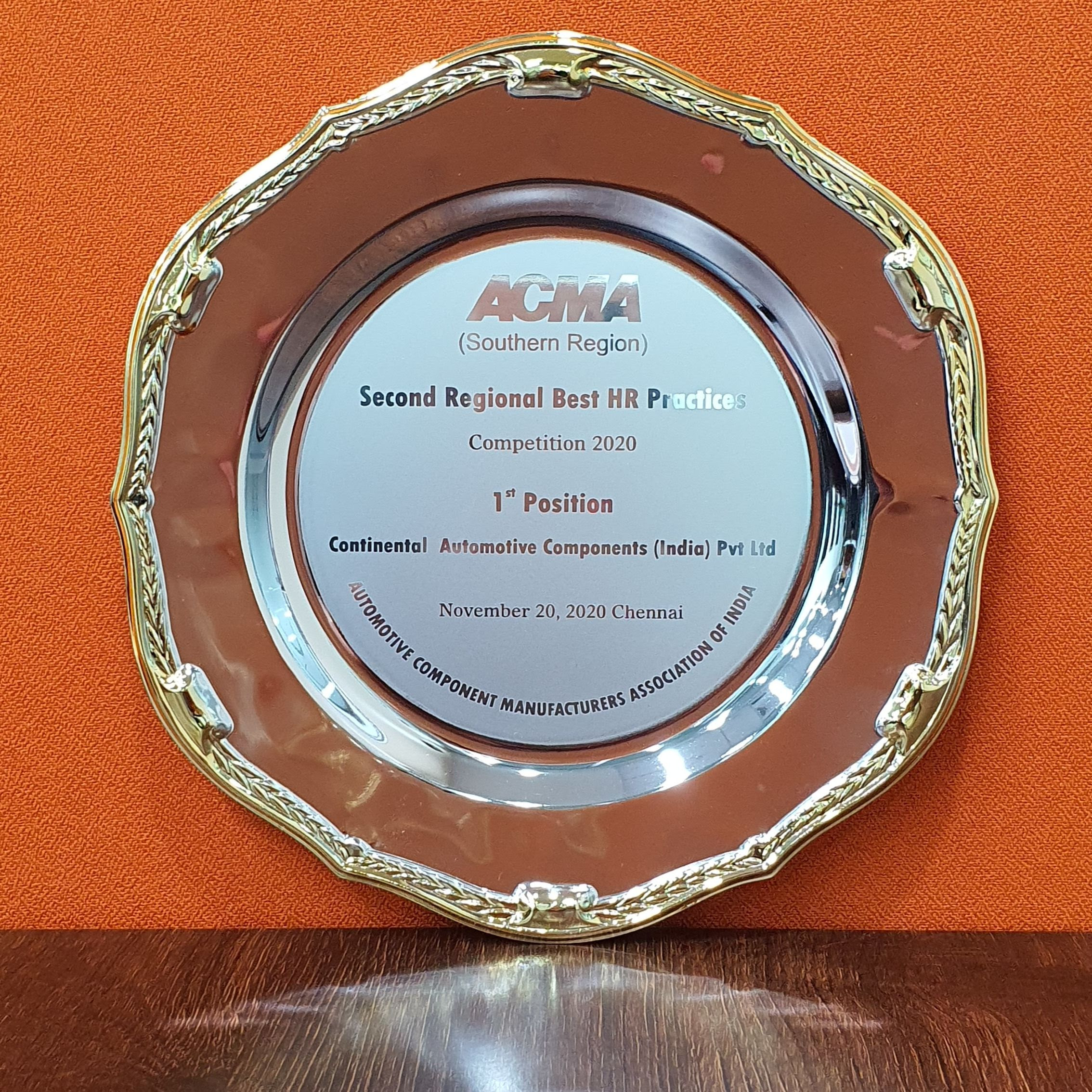 Continental India wins ACMA Excellence Award 2020 for Employee Engagement during COVID-19 Pandemic